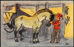 MAURITZ. Nils (og Blåmann) koser med hesten (Damm 44 Gr/175