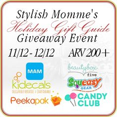 Enter to #win one of four great prize packs - over $350 in prizes to be won in this #giveaway! Includes goodies from Cryoow, Peekapak, MAM Baby Products, Kidecals, Squeasy Gear, & more! Ends December 12 (1:00pm).