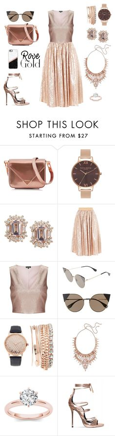 """Rose gold"" by celia-esn ❤ liked on Polyvore featuring Alexander Wang, Olivia Burton, Miss Selfridge, Fendi, Jessica Carlyle, Kendra Scott and Casetify"