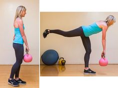 The single-leg deadlift not only works your backside, targeting both the hamstring and the glutes, but also works the core. Be sure to choose a weight that is challenging for this exercise. If you don't have a kettlebell, then a dumbbell will certainly do.