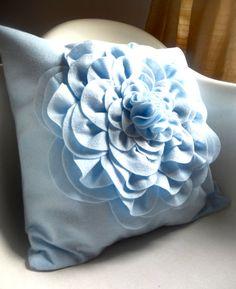 sky blue flower pillow $35 on Etsy