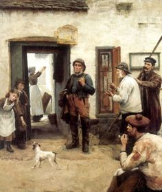A Fisherman's Tale With Fox Terrier - Michael Peter Ancher - Danish