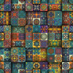 Colorful vintage seamless pattern with floral and mandala elements.Hand drawn background. Can be used for fabric, wallpaper, tile, wrapping, covers and carpet. Islam, Arabic, Indian, ottoman motifs. , #ad, #elements, #mandala, #Hand, #background, #drawn Vintage Colors, Mandala, Royalty Free Stock Photos, Carpet, Colorful, Quilts, Fabric Wallpaper, Hand Drawn, Floral