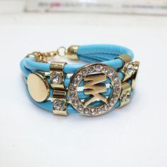 Gold Punk Leather MK Bracelet  GBR10118