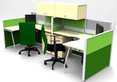 Meja kerja partisi 2 staff
