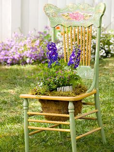 Chair Planters  Make  and interesting container gardens by turning an old chair into a planter.  To create your version, simply remove the seat or cut a hole in it and make a wire frame from chicken wire. Line the frame with coconut fiber, fill it with potting mix, and you're ready to plant.