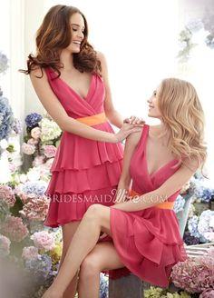 melon chiffon tiered a-line short bridesmaid dress with draped v-neckline