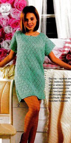 Прелестное платье-туника с несложным узором<br>#платьекрючком #туникакрючком