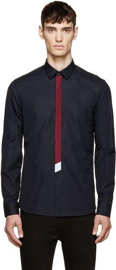 Kenzo Navy Tie Shirt