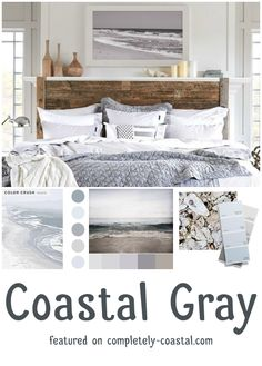 Coastal Gray design ideas with a soothing coastal gray color palette drawn from the ocean, sand, shells, pebbles, and a cloudy calm day by the sea. Coastal seaside gray color scheme for a bedroom featured on Completely Coastal. Beach House Bedroom, Nautical Bedroom, Coastal Bedrooms, Nautical Home, Gray Bedroom, Beach House Decor, Luxurious Bedrooms, Home Bedroom, Bedroom Ideas