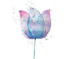 Tulip Watercolor Painting, Fine Art Blue Pink Flower Art Print, Girls Gift, Girls Decor: