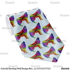 Colorful Howling Wolf Design Necktie