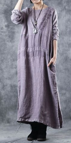22171b800e Elegant Embroidery Purple Cotton Linen Dresses For Women W4141