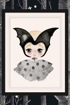 The Violet Eyes Bat Girl print has the perfect mix of quirky and cool. Made in Australia this print collection has been made for children's interiors and is perfect for girls and boys nursery and bedroom walls. Printed on textured high quality paper this artwork print features the flying fox bat native to Australia. Shop this look at www.violeteyes.com.au/products/bat-girl