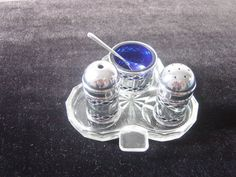 chrome plated cruet set with cobalt liners & by alomartesantiques