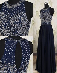 Elegant A-line Cowl Neck Navy Blue Prom Dress With Beading