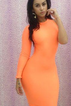 61a9643cdfd4 Dear-Lover Neon Orange Clubwear One-shoulder Bodycon Dress Mesh Long  Sleeve, Bodycon