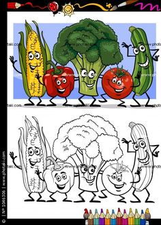 Coloring Book or Page Humor Cartoon Illustration of Vegetables Comic Food Object. Coloring Book or Vegetable Coloring Pages, Free Kids Coloring Pages, Fruit Coloring Pages, Coloring Books, Vegetable Pictures, Drawing Competition, Animal Worksheets, English Worksheets For Kids, Cartoon Faces