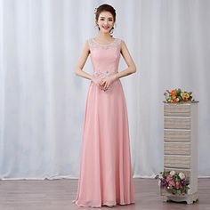 Prom+/+Formal+Evening+Dress+A-line+Jewel+Floor-length+Chiffon+/+Lace+with+Appliques+/+Beading+/+Flower(s)+–+USD+$+31.99