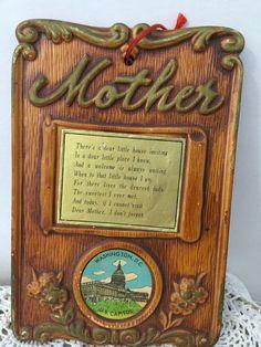 Vintage Mother Plaque  Souvenir Washington by PineStreetPickers