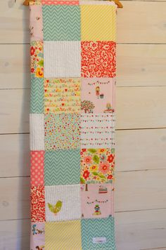 Toddler/Crib Size Simple Life Patchwork Blanket -You Pick the fabrics-Pink, Aqua, Yellow, Green, Red and White Patchwork Baby Blanket on Etsy, $98.00