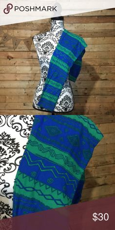 Brand New TC Blue & Green Tribal Leggings These leggings were tried on once but never worn! Major closet staple! Please feel free to ask any questions or make an offer, and as always THANK YOU for shopping my posh closet! Xoxo -Tish LuLaRoe Pants Leggings