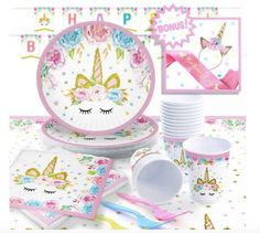 PASTEL UNICORN GIRLS BIRTHDAY PARTY DECORATIONS Tableware 6 x CUPCAKE TOPPERS