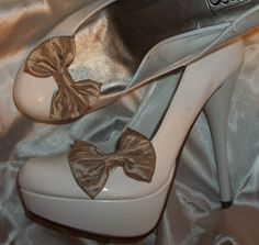 Bridal  Shoe Clips  set of 2  Crushed Taffeta in by ShoeClipsOnly, $18.00