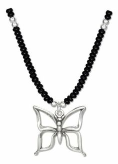 Sterling Silver 16 inch Black Pony Beads with Open Butterfly Necklace 100Silver. $16.58