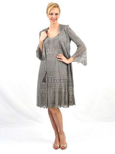 Silver elegant lace dress and jacket