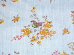 "Vtg Mid Century Lightweight Cotton Fabric Floral w/ Birds 45"" x 29"""