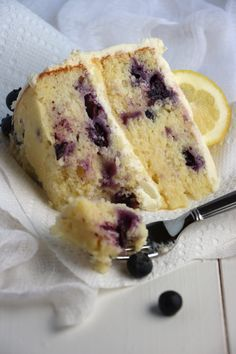Lemon Blueberry Cake with White Chocolate Cream Cheese Frosting.