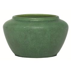 """Hampshire vase, low and shouldered form covered in a green matt glaze, marked, 5.5""""w x 3.25""""h"""