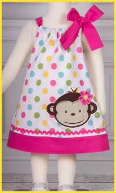 NEW Mod Monkey  applique dress Pretty by LilBitofWhimsyCoutur, $26.00