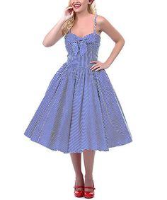 Unique Vintage Navy Blue Seeing Stripes Swing Dress with Bow - Unique  Vintage - Prom dresses ec487344e