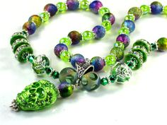 Girls Neon Green Sugar Skull Crystal Necklace With Rainbow Stardust Beads by Chris of ChildWithStyle, $22.00