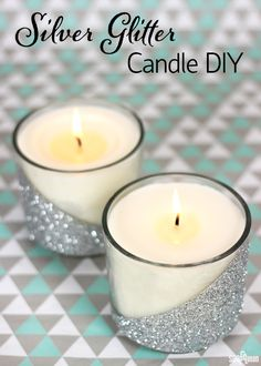 Silver Glitter Candle DIY - Soap Queen - - These candles are full of sparkle and shine! Glitter Jars, Glitter Candles, Diy Candles, Scented Candles, Candle Jars, Candle Holders, Glitter Crafts, Glitter Paint, Body Glitter