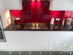 AEG gas hob with red glass splashback Grey Kitchens, Luxury Kitchens, Home Kitchens, Glass Kitchen, New Kitchen, Kitchen Interior, Kitchen Decor, Kitchen Ideas, Kitchen Splashback Tiles