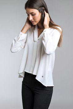 Ruffle Blouse, Tops, Women, Fashion, Crisp White Shirt, Shirts, Moda, Fashion Styles, Fashion Illustrations