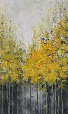 Yellow abstract acrylic painting done with palette knife on canvas TITLE: Autumn SIZE: 12 x 36 MEDIUM: Acrylic. Protected with a semi-gloss varnish.