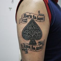 """Born to Lose, Live to Win"" The Ace of Spades tattoo by Guerrilha Tattoo studio"