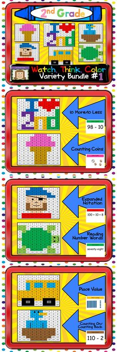 A variety of skills designed just for second graders! Includes counting coins, expanded notation, reading number words, place value, and more! Each game keeps kids focused and engaged for 15-20 minutes. $
