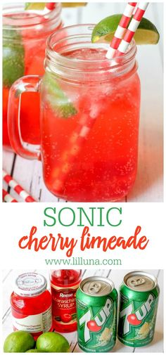 Delicious copycat recipe for Sonic's Cherry Limeade! Ingredients include 7-Up, cherries, a lime, and maraschino syrup. This simple recipe tastes just like the real thing. #copycatsoniccherrylimeade #cherrylimeade #soniccherrylimeade #cherry #soniccopycat Cherry Limeade Recipe, Sonic Cherry Limeade, Cherry Lemonade, Sonic Limeade Recipe, Sonic Drinks, Fruit Drinks, Fruity Alcohol Drinks, Beverages, Summer Drink Recipes