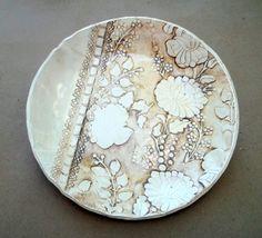 Sepia Ceramic Lace Damask Bowl by dgordon on Etsy, $38.00
