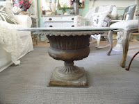 Garden urn turned coffee table (topped with glass and filled with lovelies)(from Shabby French Cottage)