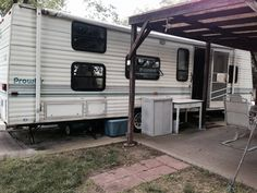old camper purchased with property, set on concrete drive, up against awning and patio.  We chose to move camper and redo everything.