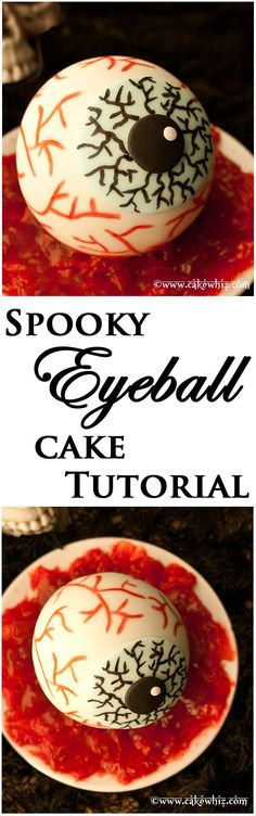 Spooky EYEBALL CAKE tutorial. These step-by-step instructions will show you how to make this creepy cake for Halloween! From cakewhiz.com