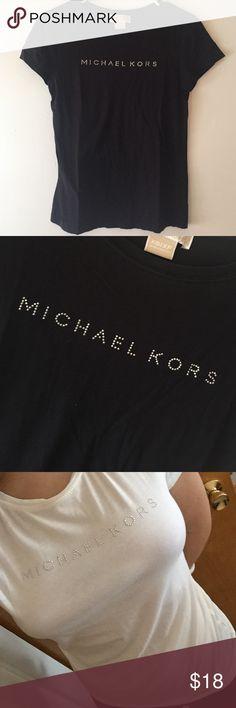 "{Michael Kors} rhinestone name tee shirt Option black or white. Worn once. Simple casual tee shirt with sparkly ""MICHAEL KORS"". Michael Kors Tops Tees - Short Sleeve"