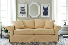 What to Put on the Blank Wall over Sofa Hang a mirror and a pair of prints over your sofa Gallery Wall Living Room Couch, Living Room Sofa Design, Living Room Colors, Formal Living Rooms, Living Room Modern, Living Room Designs, Small Living, Living Spaces, Decor Above Sofa