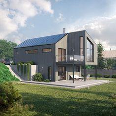 Nordstrand er en moderne bolig som er meget egnet for en smal eller bratt tomt. Lange, smale vinduer og forskjøvede takflater gir huset et moderne uttrykk. Japanese Design, Home Fashion, Future House, Minimalism, Home Goods, New Homes, House Ideas, Floor Plans, House Design
